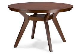 baxton studio montreal mid century dark walnut round wood dining table affordable modern furniture in chicago