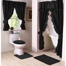 black shower curtains. Starlite 11-Piece Shower Curtain And Window Bath Set - 45 X 70 Black Curtains I