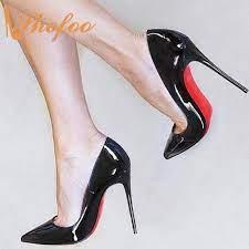 Fondo rojo negro charol Stilettos tacones altos mujeres bombas puntiagudos  talla grande 11 15 señoras primavera madura zapatos Sexy Shofoo|Zapatos de  tacón de mujer| - AliExpress