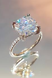moissanite enement rings pave band gold cushion cut