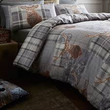 catherine lansfield heritage stag cotton rich duvet cover set grey