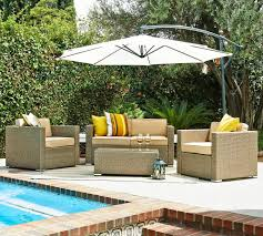 Exterior Black Cape May Wicker With Cushions And Side Table On Cape May Outdoor Furniture