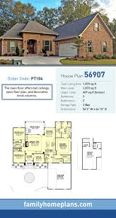 P French Country House Plan 56907  Total Living Area 1807 SQ FT 3 Bedrooms