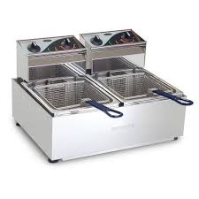 roband f25 double 5 litre pan countertop deep fryer with 2 basket
