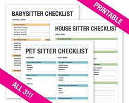 House Sitting Checklist Babysitter Checklist House Sitter Checklist Pet Sitter Checklist Printable Organization Household Planner Family 2019 Calendar