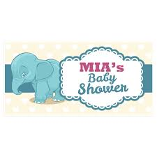 Baby Shower Banner Elephant Baby Shower Banner Personalized Custom Party Backdrop