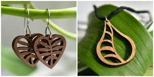 laser cut wood jewelry
