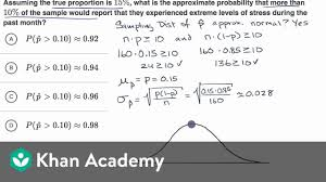Probability Of Sample Proportions Example Sampling Distributions Ap Statistics Khan Academy