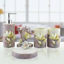 Decorative Bathroom Accessories Sets Hand Engraved Plant 100Pcs Lily Sculpture Resin Bathroom Accessories 15
