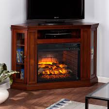 boston loft furnishings 48 in w gany mdf infrared quartz electric fireplace with thermostat and