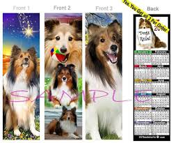 details about 3 lot shetland sheepdog 2019 calendar bookmark sable sheltie dog perfect gift