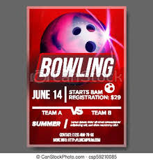 Bowling Event Flyer Bowling Poster Vector Banner Advertising Sport Event Announcement Ball A4 Size Announcement Game League Design Championship Layout Blank Label