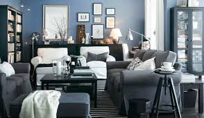Blue And Gray Interior Inside Grey And Living Room Ideas