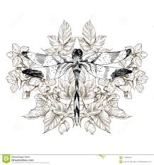 цветки и Dragonfly татуировка вектора в винтажном стиле