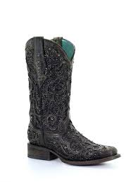 Corral Black Glitter Inlay And Studs Square Toe Boots C3484