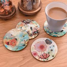 2019 table mat round dining table placemats square wooden cup pad cork flowers insulation mat round coasters pad coaster kitchen from miniatur