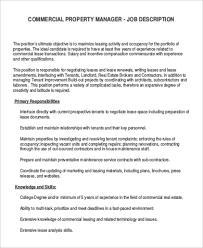 Property Manager Job Description Samples Commercial Manager Job Description Sample 9 Examples In