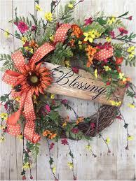 summer wreath front door wreath spring wreath sunflower wreath blessings sign wreath fl gvine wreath outdoor