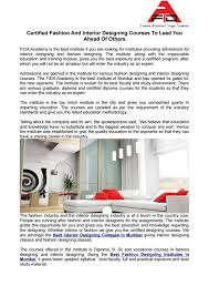 B Interior Design Course Certified Fashion And Interior Designing Courses To Lead You