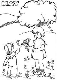 Small Picture May is the Month of Springtime Coloring Page Download Print