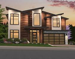 popular modern house plan with shed style roof is perfect for narrower lots