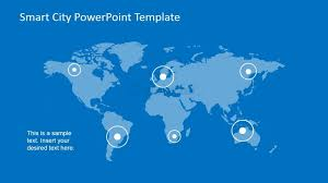 Powerpoint World Powerpoint World Map With Pointer To Smart Cities Slidemodel