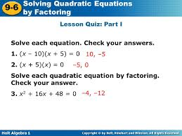 lesson quiz part i solve each equation check your answers 1