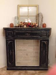 faux fireplace with storage cabinets