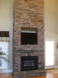 outdoor dry stack stone fireplace