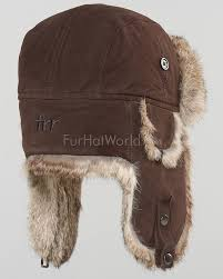 brown suede leather rabbit fur aviator hat for men