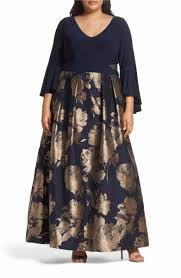 Main Image Xscape Long Brocade Ballgown Plus Size In