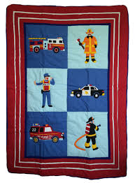 fire truck police car toddler bedding 4pc boys comforter and sheets bed in a bag set