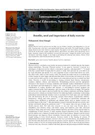 pdf benefits need and importance of daily exercise