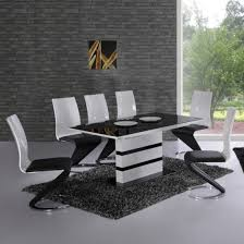 arctic black and white high gloss dining table and 6 leona z chairs