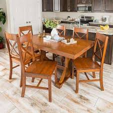 millwright 7 piece antique brown wood dining set