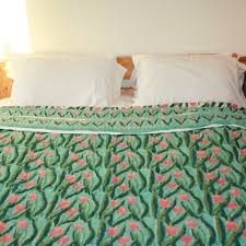 green pink tulips super king size quilts