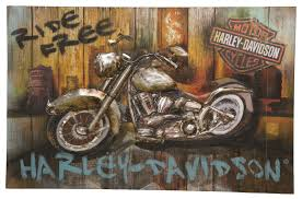 harley davidson motorcycle ride free wall art distressed wood formed steel sign
