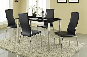 black dining table set 4 chairs gl faux leather steel modern kitchen room