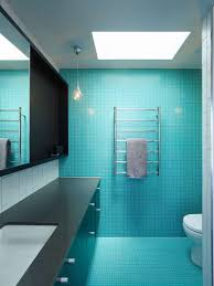 bathroom floor tile blue. Tiny Bright Blue Tiles Cover The Floor And One Of Walls In This Bathroom To Add A Bold Punch Color. Tile