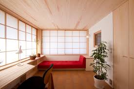 japanese home office. Japan Modern Japanese With Wicker Rattan Roller Shades Home Office Asian And Built In Shelf Long