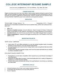 How To Create A Resume For College Students Internship Resume