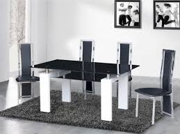 black glass dining table and chairs white high gloss base 2 black