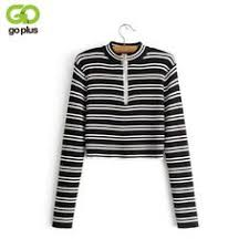 <b>GOPLUS Cropped</b> Sweater <b>Women</b> Long Sleeves Black White ...