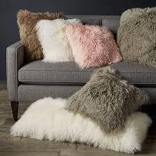 Mongolian fur pillows Rose Crate And Barrel White Mongolian Lamb Pillow Crate And Barrel