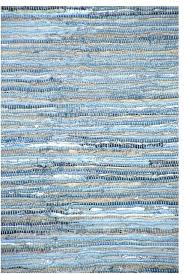handwoven denim leather and cotton flatweave rug blue area rugs by sai resources llc