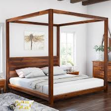 Style Solid Wood Low Height Platform Canopy Bed International Online ...