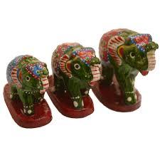 set of 3 wooden elephant figurines with jaipur meenakari