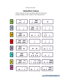 A rest lasts for a certain length of time (beats), like a note does. Music Notes And Rests Interactive Worksheet
