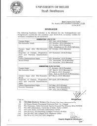 Academic Calendar 2018 19 University Of Delhi