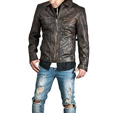 men s zip up brown distressed leather jacket